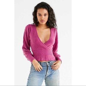 UO Delilah Pointelle Ruffle Surplice Sweater